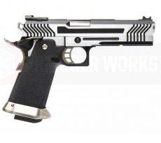 Armorer Works Custom Hi-Capa GBBP (Full Silver Slide – Black Frame) image