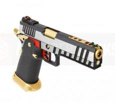 Armorer Works Custom Hi-Capa GBBP (Full Silver Slide – Black Frame – Gold Barrel) image