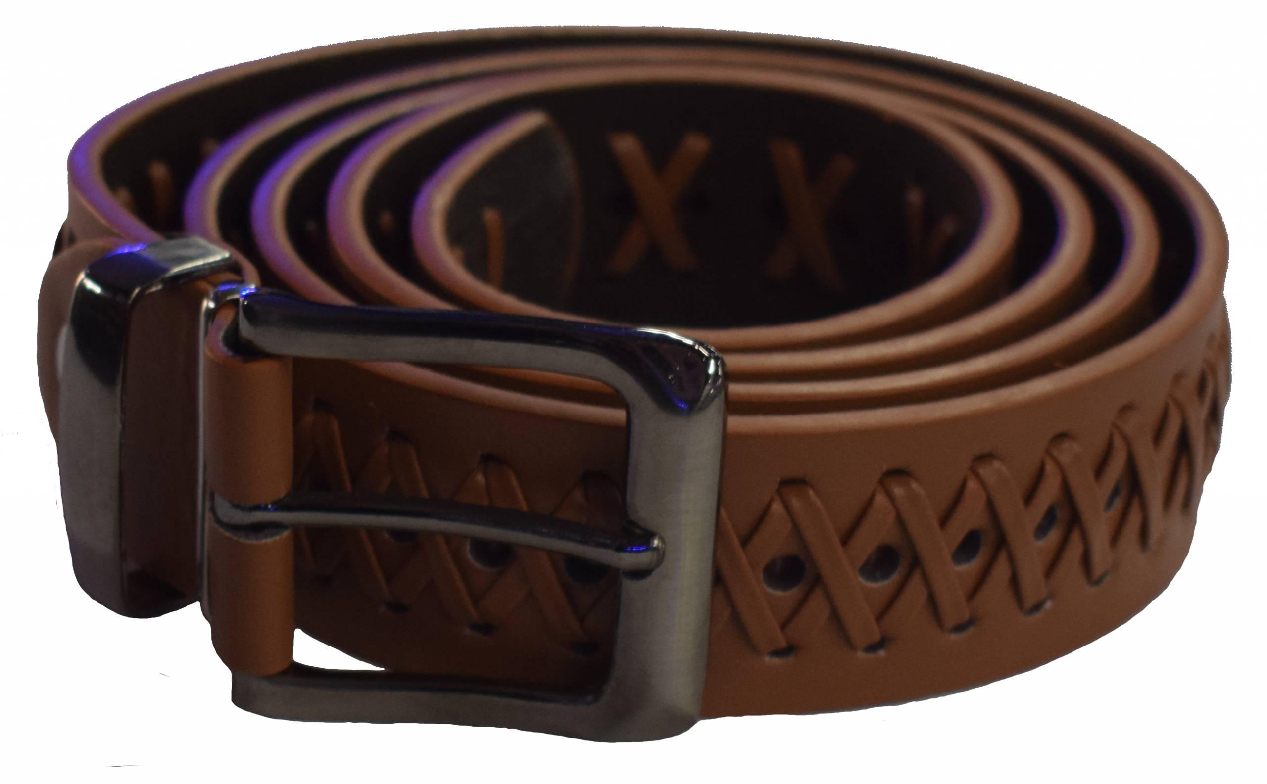 HAWKDALE LEATHER CROSS HATCH BELT BROWN product image