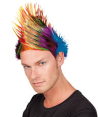 Multi Colour Mohawk Punk Wig image