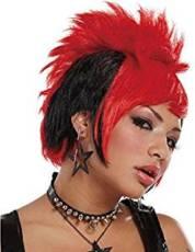 PUNK GIRL WIG BLACK-RED image