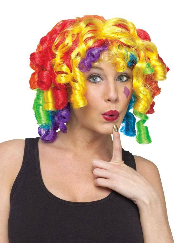 Adult Rainbow Curly Crazy Curls Funny Clown Wig product image
