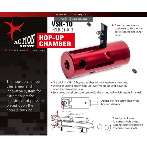 ACTION ARMY VSR10 HOP UP CHAMBER product image