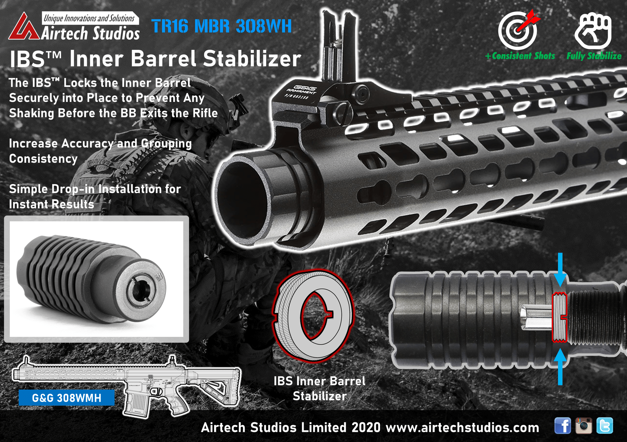 Airtech INNER BARREL STABILIZER G&G 308 TR16 MBR product image