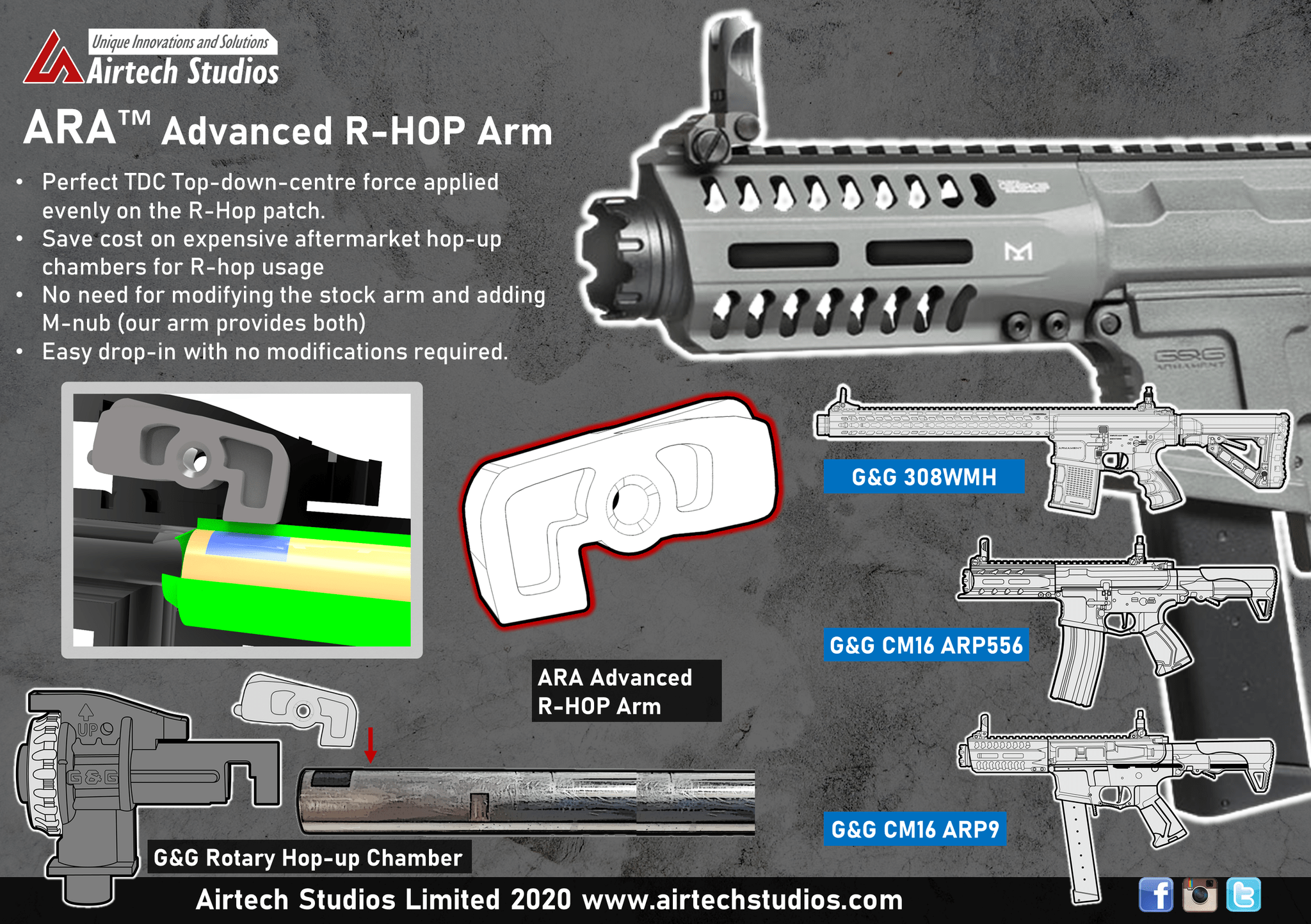 Airtech Advanced R-hop Arm For G&G ROTARY HOP product image