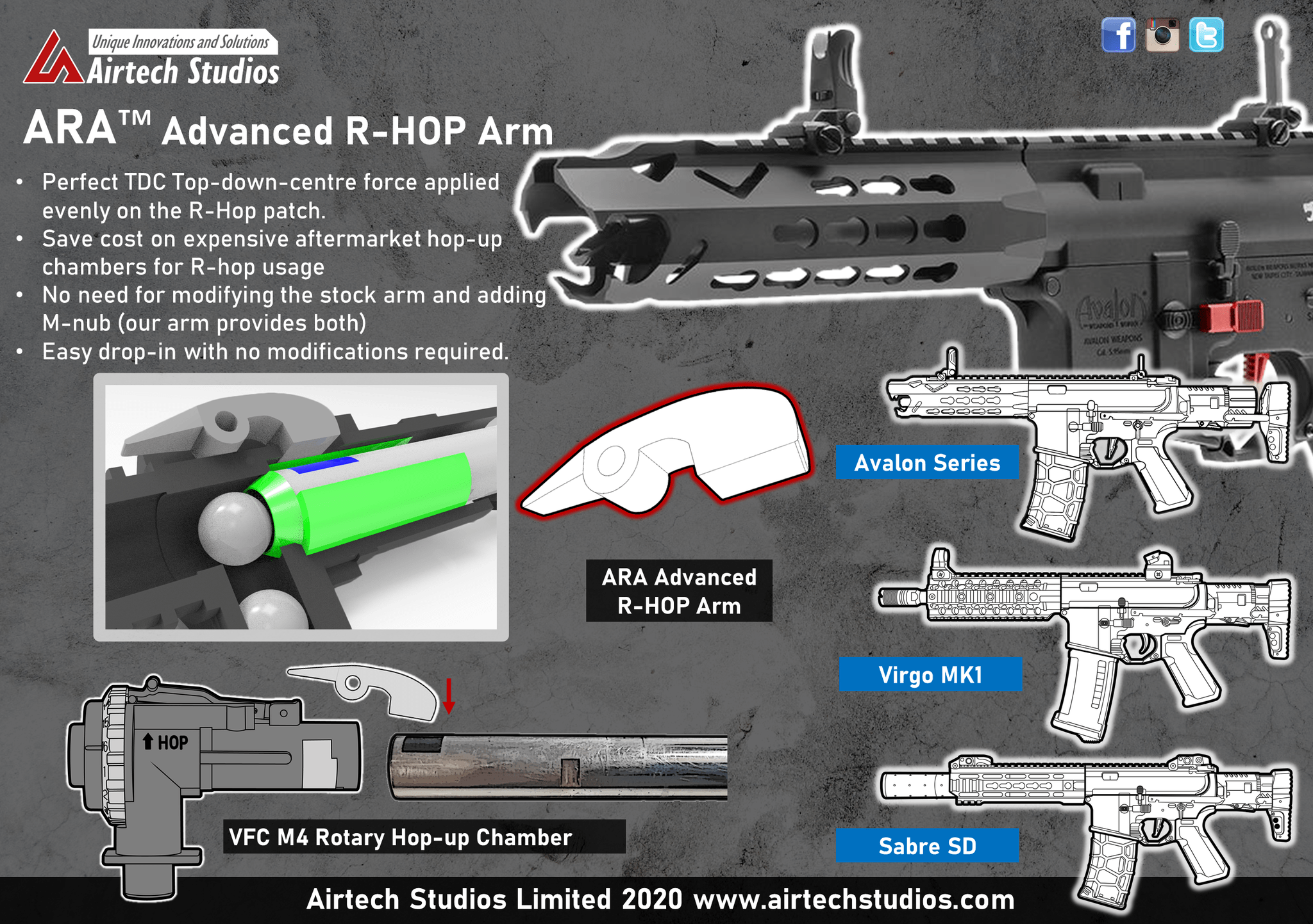 Airtech Advanced R-hop Arm For VFC M4 ROTARY HOP product image